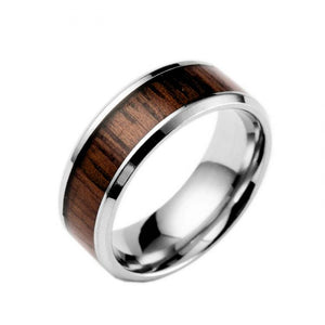 Fashion Mens Rings Delicate Wood Inlay Titanium Steel Ring Men Luxury Engagement Wedding Ring