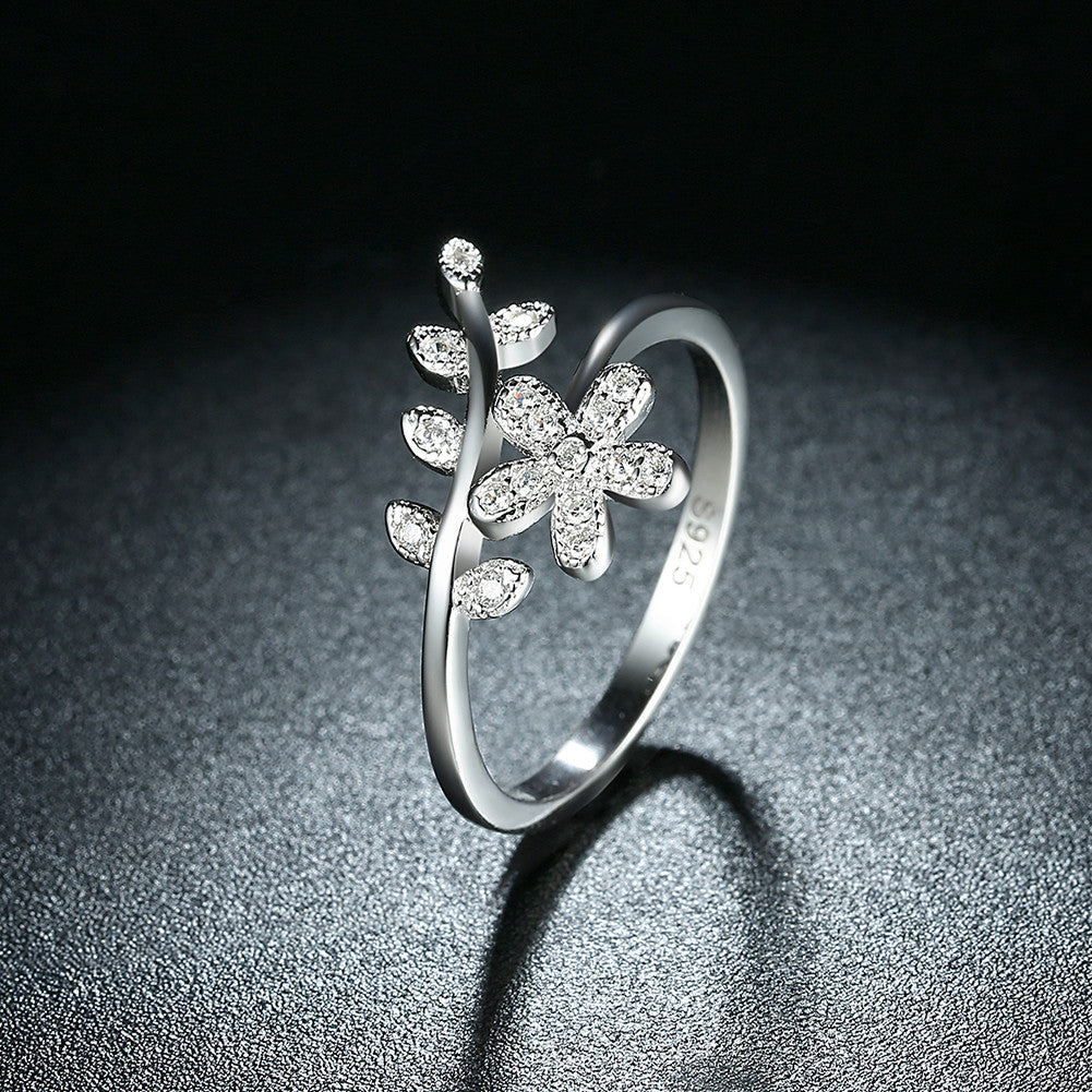 925 Silver Ring floral stone ring jewelry SVR119