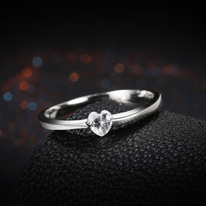 925 Sterling Silver Ring Inlaid heart ring jewelry wholesalers wholesale site factory direct SVR082