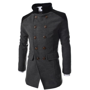 Men Jacket Warm Winter Trench Long Outwear Button Smart Overcoat