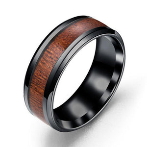 Punk 8mm Band Ring Stainless Steel Wood Couple Mens Rings Wedding Party Accessories Vintage Jewelry