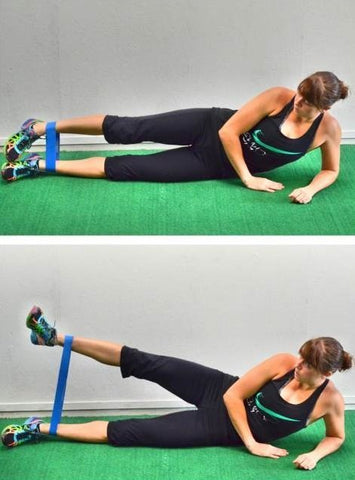 exercise with mini band - lying external rotation