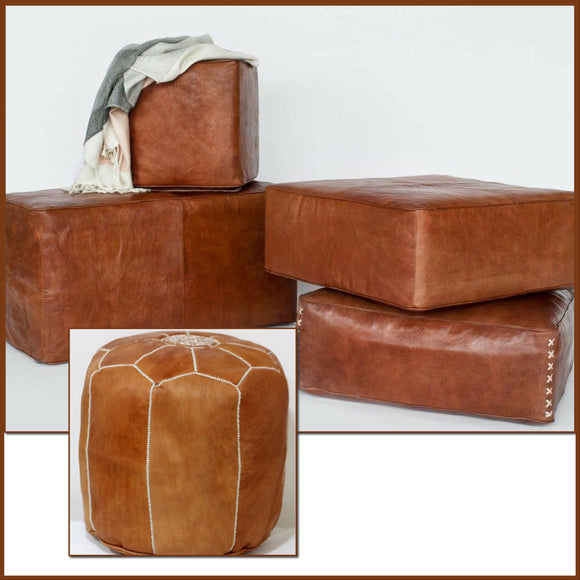 Square | Oblong | Tall Leather Poufs & Ottomans