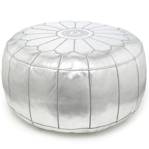 Giant FauxLeather Moroccan Pouf VEGAN FRIENDLY - Silver - Nomad House