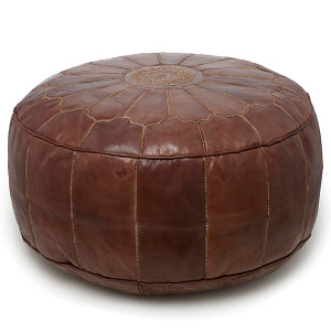 Giant Leather Moroccan Pouf - Brown - Nomad House