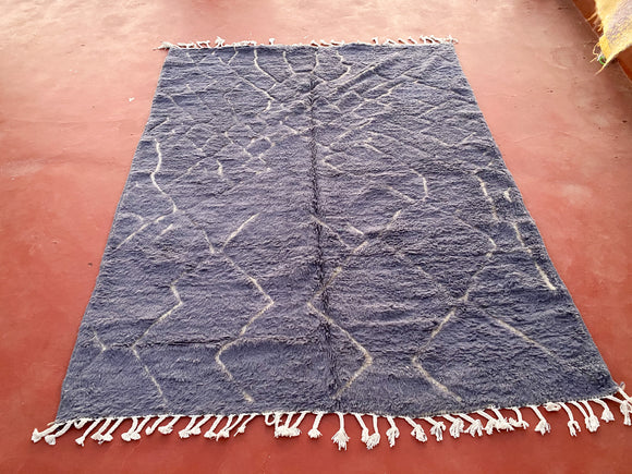 Moroccan Rug Beni Ourain Hand Knotted Pure Wool Berber Rug - Area Rug