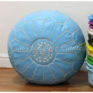 PREMIUM Moroccan Pouf Ottoman Footstool - Genuine Leather - PACIFIC BLUE / WHITE - Nomad House