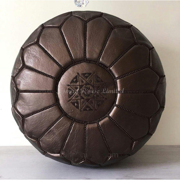 PREMIUM Moroccan Pouf Ottoman Footstool - VEGAN FRIENDLY - BRONZE - Nomad House