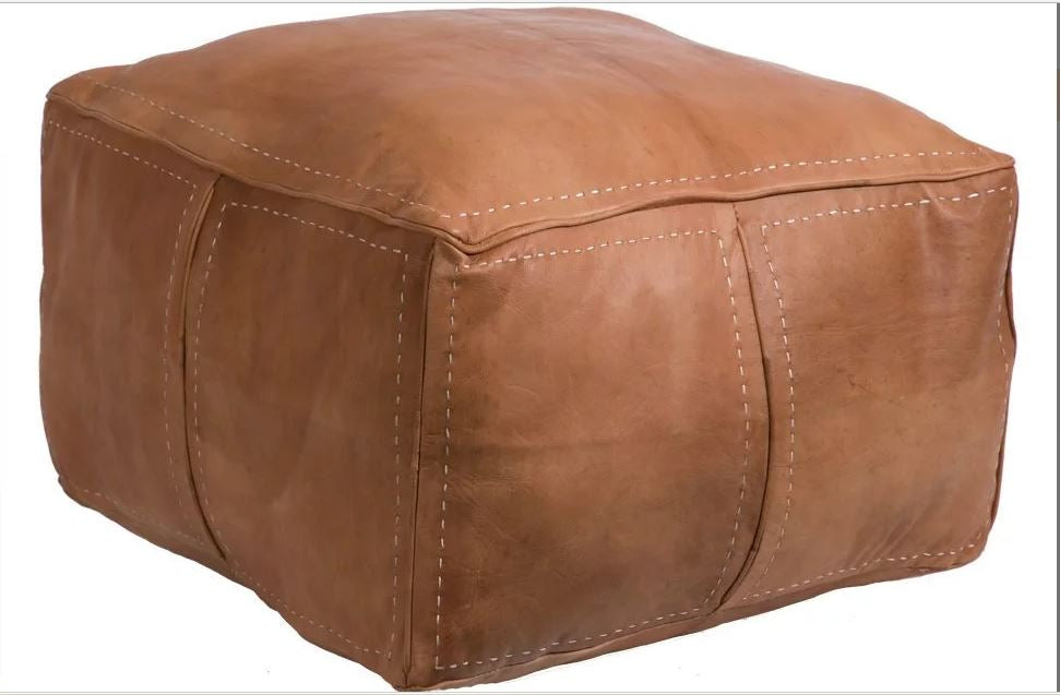 Pouf Footstool in Natural Color 14 h x 20 d Leather Ottoman Moroccan POUFS Pouf Ottoman Premium Luxe Moroccan Leather Ottoman Pouffe