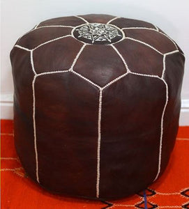 TABOURET - Tall Moroccan Leather Pouf - Vintage Brown