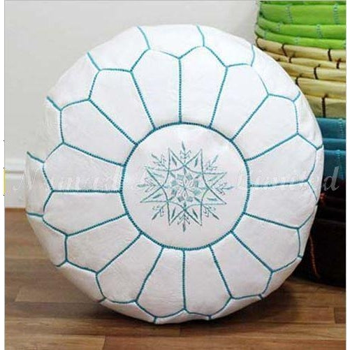 PREMIUM Moroccan Pouf Ottoman Footstool - Genuine Leather - WHITE/AQUA - Nomad House