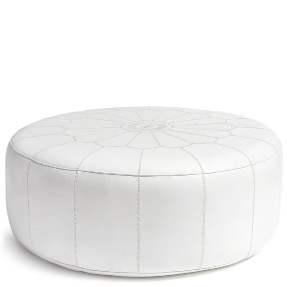 Giant Leather Moroccan Pouf - White - Nomad House