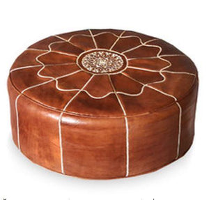 Giant Leather Moroccan Pouf - Cognac - Nomad House