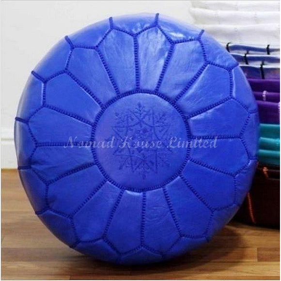 PREMIUM Moroccan Pouf Ottoman Footstool - Genuine Leather - AZURE - Nomad House