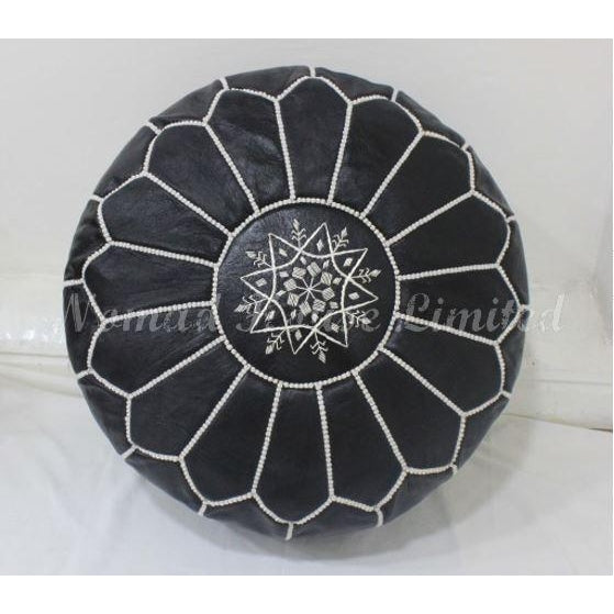 PREMIUM Moroccan Pouf Ottoman Footstool - Genuine Leather - BLACK / WHITE - Nomad House