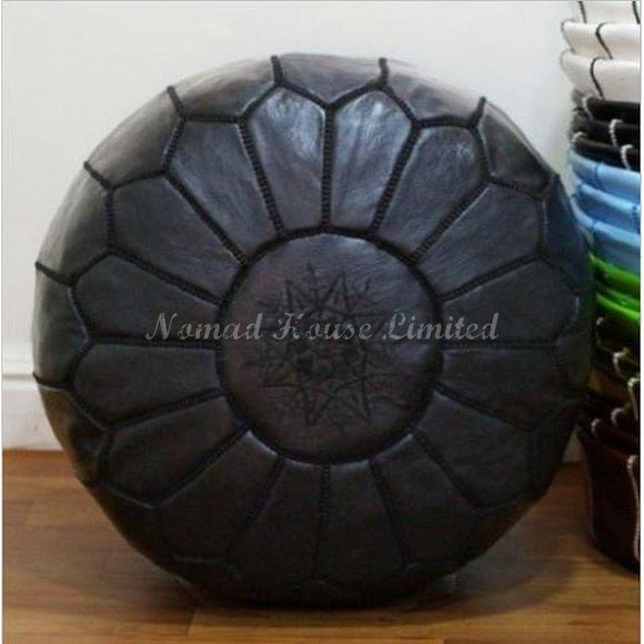 PREMIUM Moroccan Pouf Ottoman Footstool - Genuine Leather - BLACK - Nomad House