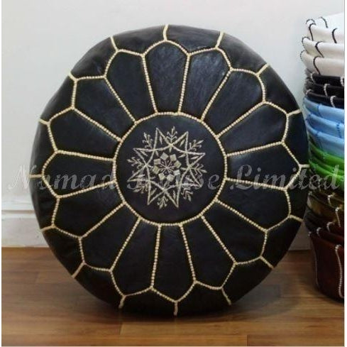 PREMIUM Moroccan Pouf Ottoman Footstool - Genuine Leather - BLACK / GOLD - Nomad House