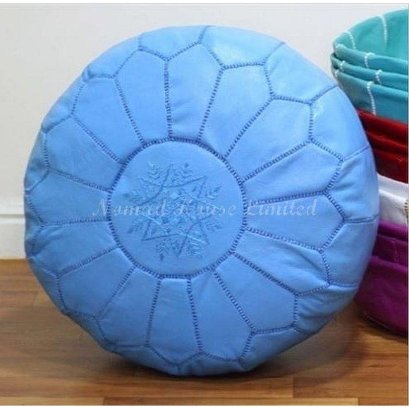 PREMIUM Moroccan Pouf Ottoman Footstool - Genuine Leather - SKY BLUE - Nomad House