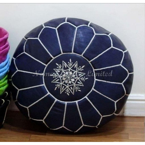 PREMIUM Moroccan Pouf Ottoman Footstool - Genuine Leather - BLUE JEANS - Nomad House