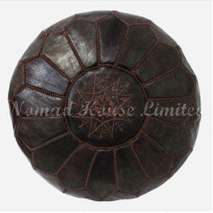 PREMIUM Moroccan Pouf Ottoman Footstool - Genuine Leather - CHOCOLATE - Nomad House