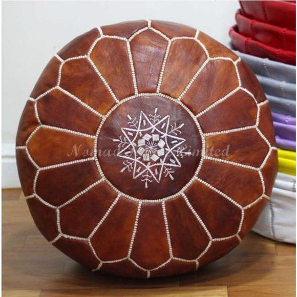 PREMIUM Moroccan Pouf Ottoman Footstool - Genuine Leather - COGNAC - Nomad House