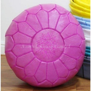 PREMIUM Moroccan Pouf Ottoman Footstool - Genuine Leather - FUCHSIA - Nomad House