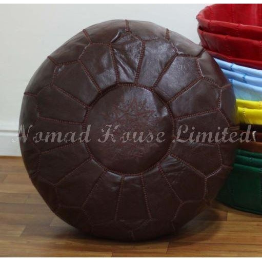 PREMIUM Moroccan Pouf Ottoman Footstool - Genuine Leather - FUDGE - Nomad House
