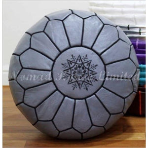PREMIUM Moroccan Pouf Ottoman Footstool - Genuine Leather - GREY/BLACK - Nomad House