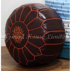 PREMIUM Moroccan Pouf Ottoman Footstool - Genuine Leather - JAFFA - Nomad House