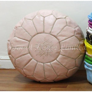 PREMIUM Moroccan Pouf Ottoman Footstool - Genuine Leather - LATTE - Nomad House