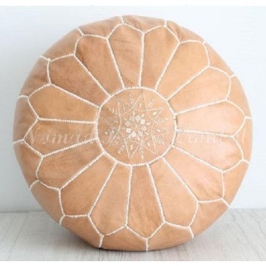 PREMIUM Moroccan Pouf Ottoman Footstool - Genuine Leather - TOFFEE - Nomad House