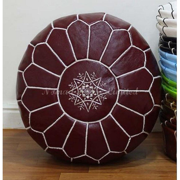 PREMIUM Moroccan Pouf Ottoman Footstool - Genuine Leather - ACORN / WHITE - Nomad House