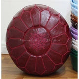 PREMIUM Moroccan Pouf Ottoman Footstool - Genuine Leather - MARSALA - Nomad House