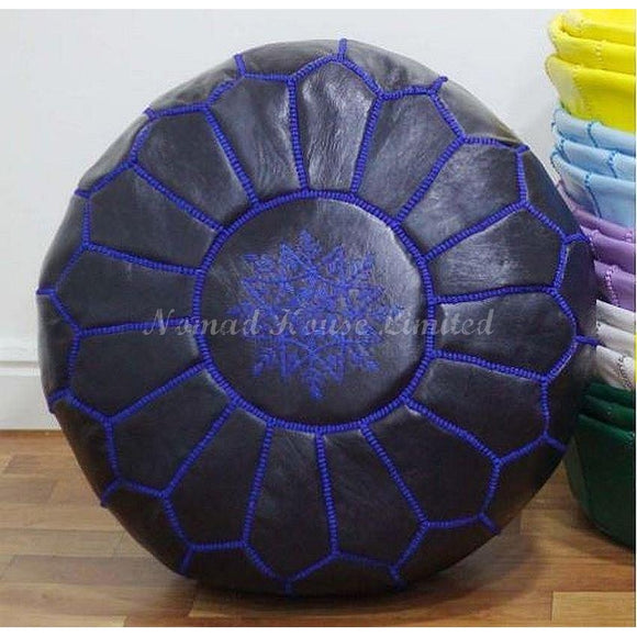 PREMIUM Moroccan Pouf Ottoman Footstool - Genuine Leather - NAVY - Nomad House