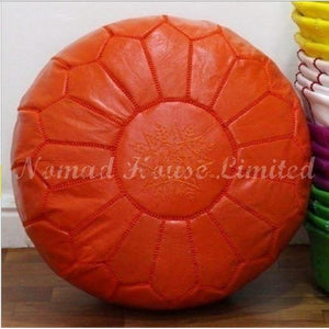 PREMIUM Moroccan Pouf Ottoman Footstool - Genuine Leather - ORANGE - Nomad House