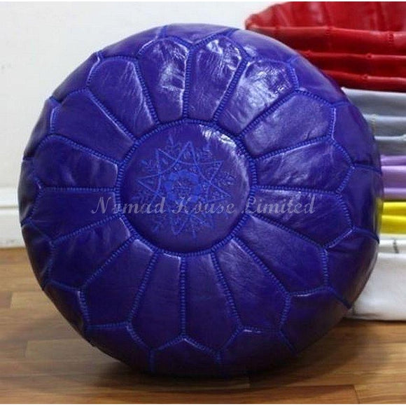 PREMIUM Moroccan Pouf Ottoman Footstool - Genuine Leather - ROYAL BLUE - Nomad House