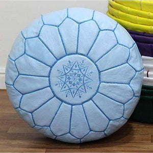 PREMIUM Moroccan Pouf Ottoman Footstool - Genuine Leather - BABY BLUE - Nomad House