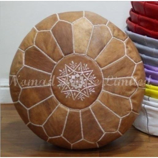 PREMIUM Moroccan Pouf Ottoman Footstool - Genuine Leather - TAN - Nomad House