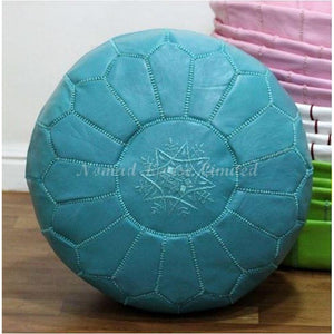 PREMIUM Moroccan Pouf Ottoman Footstool - Genuine Leather - TEAL - Nomad House