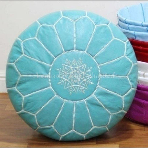 PREMIUM Moroccan Pouf Ottoman Footstool - Genuine Leather - TURQUOISE / WHITE - Nomad House