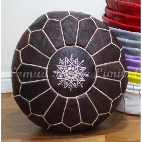 PREMIUM Moroccan Pouf Ottoman Footstool - Genuine Leather - VINTAGE - Nomad House