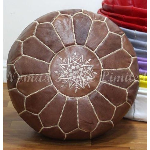 PREMIUM Moroccan Pouf Ottoman Footstool - Genuine Leather - WALNUT - Nomad House