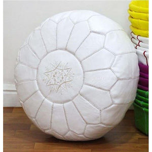 PREMIUM Moroccan Pouf Ottoman Footstool - Genuine Leather - WHITE - Nomad House