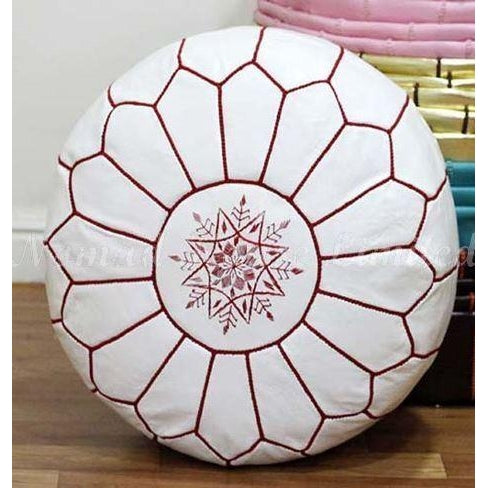 PREMIUM Moroccan Pouf Ottoman Footstool - Genuine Leather - WHITE/FUCHSIA - Nomad House