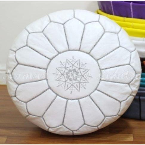 PREMIUM Moroccan Pouf Ottoman Footstool - Genuine Leather - WHITE/GREY - Nomad House