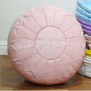 PREMIUM Moroccan Pouf Ottoman Footstool - Genuine Leather - SOFT PINK - Nomad House