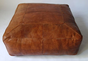 Extra Large Square Moroccan Leather Pouf