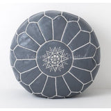 PREMIUM Moroccan Pouf Ottoman Footstool - Genuine Leather - SLATE/WHITE - Nomad House