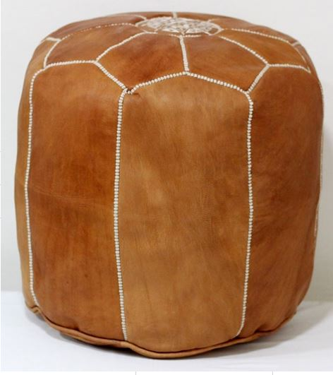 TABOURET - Tall Leather Pouf / Pouffe - Nomad House