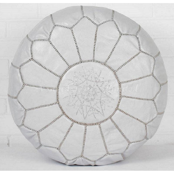 PREMIUM Moroccan Pouf Ottoman Footstool - Genuine Leather - PEARL GREY - Nomad House